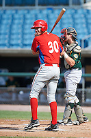 Tyler Green #30 of Williamsville North High School in Williamsville, New York playing for the Philadelphia Phillies scout team during the East Coast Pro Showcase at Alliance Bank Stadium on August 4, 2012 in Syracuse, New York.  (Mike Janes/Four Seam Images)