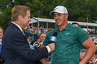 Brooks Koepka (USA) is interviewed following the 100th PGA Championship at Bellerive Country Club, St. Louis, Missouri. 8/12/2018.<br /> Picture: Golffile | Ken Murray<br /> <br /> All photo usage must carry mandatory copyright credit (&copy; Golffile | Ken Murray)