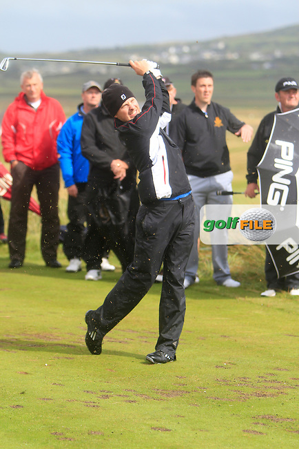 Simon O'Hara (Co. Louth) on the 11th tee during the South of Ireland Amateur Open Championship Final at Lahinch Golf Club  31th July 2013 <br /> Picture:  Thos Caffrey / www.golffile.ie