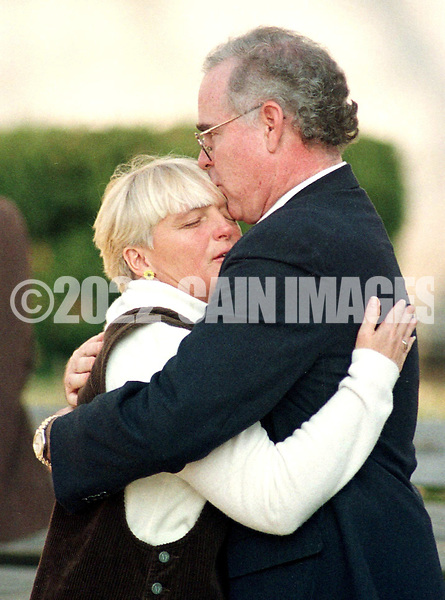 Gail Willard, mother of slain athlete Aimee Willard, and Delaware County District Attorney Patrick Meehan, embrace after Arthur Bomar, was sentenced to death, for the murder of Aimee Willard, Friday, Dec. 4, 1998, at the Delaware County Courthouse in Media, Pa. (AP Photo/William Thomas Cain)