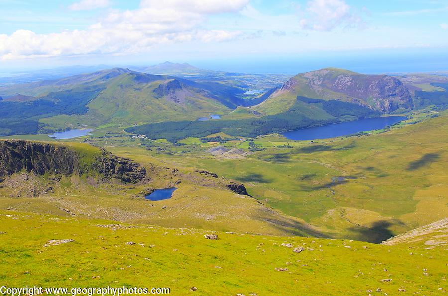View to Llyn Cwellyn lake, Mount Snowdon, Gwynedd, Snowdonia, north Wales, UK