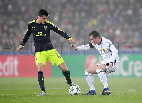 06.12.2016. Basel, Switzerland. Champions League Group A FC Basle versus Arsenal at St. Jakob Park.   Granit Xhaka (Arsenal) challenges Bruder Taulant Xhaka (FC Basel)