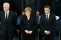 Bill Clinton; Angela Merkel: Emmanuel Macron<br /> STRASBOURG, FRANCE - JULY 01: The guard of honor carrie the coffin of former German Chancellor Helmut Kohl draped with a flag of the European Union out of the memorial ceremony at the European Parliament on July 1, 2017 in Strasbourg, France. Kohl was chancellor of Germany for 16 years and led the country from the Cold War through to reunification. He died on June 16 at the age of 87.<br /> Foto Elyxandro Cegarra / Panoramic / Insidefoto <br /> ITALY ONLY