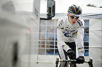 2015 CX World Champion Mathieu Van der Poel (NLD/BKCP-Powerplus) warming up<br /> <br /> elite men's race<br /> Krawatencross <br /> bpost bank trofee 2015