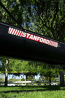 REDWOOD SHORES, CA - MARCH 31:  A boat of the Stanford Cardinal after Stanford's regatta against the Santa Clara Broncos on March 31, 2001 in Redwood Shores, California.
