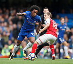 Willian of Chelsea and nacho Montreal of Arsenal during the premier league match at Stamford Bridge Stadium, London. Picture date 17th September 2017. Picture credit should read: David Klein/Sportimage