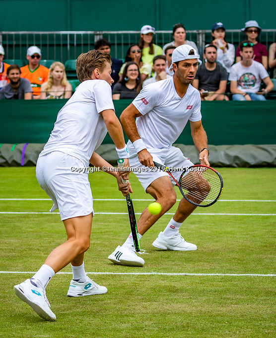 London, England, 6 July, 2019, Tennis,  Wimbledon, Mixed doubles: Demi Schuurs (NED) and Jean-Julien Rojer (NED)<br /> Photo: Henk Koster/tennisimages.com