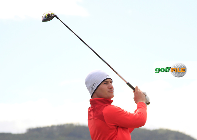 Oliver Fisher (ENG) on the 2nd tee during Round 1 of the 2015 Dubai Duty Free Irish Open, Royal County Down Golf Club, Newcastle Co Down, Northern Ireland. 28/05/2015<br /> Picture Thos Caffrey, www.golffile.ie