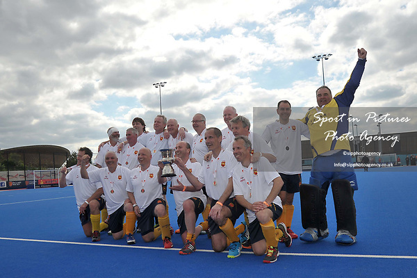The Formby team celebrate with the trophy. Timperley v Formby (Men's Over 50's Trophy Final). Pitch 2. Men's Knockout Finals 2017. Lee Valley Hockey and Tennis Centre. London. UK. 29/04/2017. ~ MANDATORY CREDIT Garry Bowden/SIPPA - NO UNAUTHORISED USE - +44 7837 394578