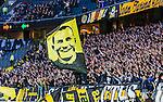 Solna 2014-05-05 Fotboll Allsvenskan AIK - Helsingborgs IF :  <br /> AIK supportrar med en flagga med portr&auml;tt p&aring; fd AIK m&aring;lvakt Ivan Turina<br /> (Foto: Kenta J&ouml;nsson) Nyckelord:  Friends Arena AIK Gnaget HeIF HIF Helsingborg