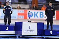 SCHAATSEN: ERFURT: Gunda Niemann Stirnemann Eishalle, 22-03-2015, ISU World Cup Final 2014/2015, Final Podium Mass Start Men, Bart Swings (BEL), Andrea Giovannini (ITA), ©foto Martin de Jong