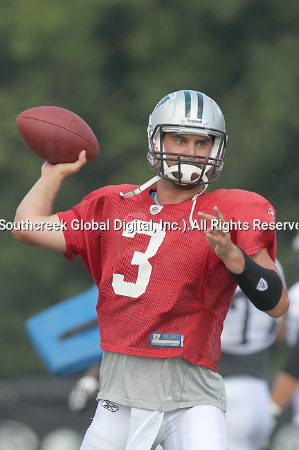 30July2010: Carolina Panther quarterback Matt Moore (#3). The Panthers held an afternoon training camp session at Wofford College in Spartanburg, South Carolina.