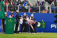 Anne Van Dam of Team Europe warming up on the 1st tee during Day 2 Fourball at the Solheim Cup 2019, Gleneagles Golf CLub, Auchterarder, Perthshire, Scotland. 14/09/2019.<br /> Picture Thos Caffrey / Golffile.ie<br /> <br /> All photo usage must carry mandatory copyright credit (© Golffile | Thos Caffrey)