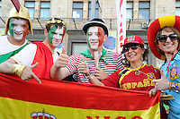 01.07.2012 Kiev, Ukraine. Spanish and Italian  fans before the European Championship Final game between Spain and Italy from the Olympic Stadium...