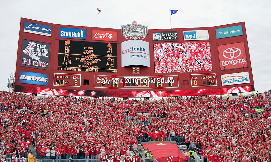 A view of the Camp Randall scoreboard during the Wisconsin Badgers NCAA college football game against the Arizona State Sun Devils on September 18, 2010 at Camp Randall Stadium in Madison, Wisconsin. The Badgers beat the Sun Devils 20-19. (Photo by David Stluka)