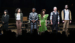 Eva Noblezada, Afra Hines, Andre De Shields, Amber Gray, Patrick Page and Timothy Hughes during Broadway Opening Night Performance Curtain Call for 'Hadestown' at the Walter Kerr Theatre on April 17, 2019 in New York City.