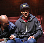 """Brandon Victor Dixon and J. Quinton Johnson during the Q & A for The Rockefeller Foundation and The Gilder Lehrman Institute of American History sponsored High School student #EduHam matinee performance of """"Hamilton"""" at the Richard Rodgers Theatre on 3/15/2017 in New York City."""
