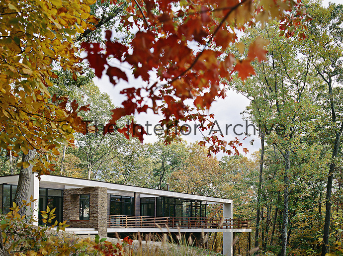 A modern house in the country, built on concrete stilts is surrounded by autumnal trees
