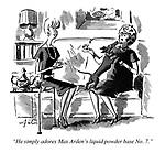 """He simply adores Max Arden's liquid powder base No. 7."""