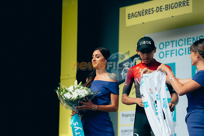 Egan Bernal (COL) Team Ineos retains the young riders White Jersey at the end of Stage 12 of the 2019 Tour de France running 209.5km from Toulouse to Bagneres-de-Bigorre, France. 18th July 2019.<br /> Picture: ASO/Thomas Maheux | Cyclefile<br /> All photos usage must carry mandatory copyright credit (© Cyclefile | ASO/Thomas Maheux)