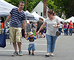"""Little Big Guy"" (under escort) is seen promoting the wearing of summer hats, at the Saugerties Farmer's Market on Main Street in the Village of Saugerties, NY, on Saturday, June 10, 2017. Photo by Jim Peppler. Copyright/Jim Peppler-2017."