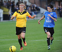 20161029 - ZWEVEZELE , BELGIUM : Zwevezele's Eva Deparck (L) and Club Brugge's Febe Vanhaecke (R)  pictured during a soccer match between the women teams of KSK Zwevezele and Club Brugge  , during the seventh matchday in the 2016-2017  Tweede klasse - Second Division season, Saturday 29 October 2016 . PHOTO SPORTPIX.BE | DIRK VUYLSTEKE