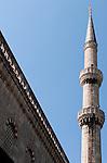 Blue Mosque Minaret 02 - Minaret of the Blue Mosque, Sultanahmet, Istanbul, Turkey