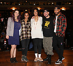 "Holli Campbell, Sasha Hollinger, Raven Thomas, Roddy Kennedy and Terrance Spencer on stage during The Rockefeller Foundation and The Gilder Lehrman Institute of American History sponsored High School student #eduHam matinee performance of ""Hamilton"" Q & A at the Richard Rodgers Theatre on November 7, 2018 in New York City."