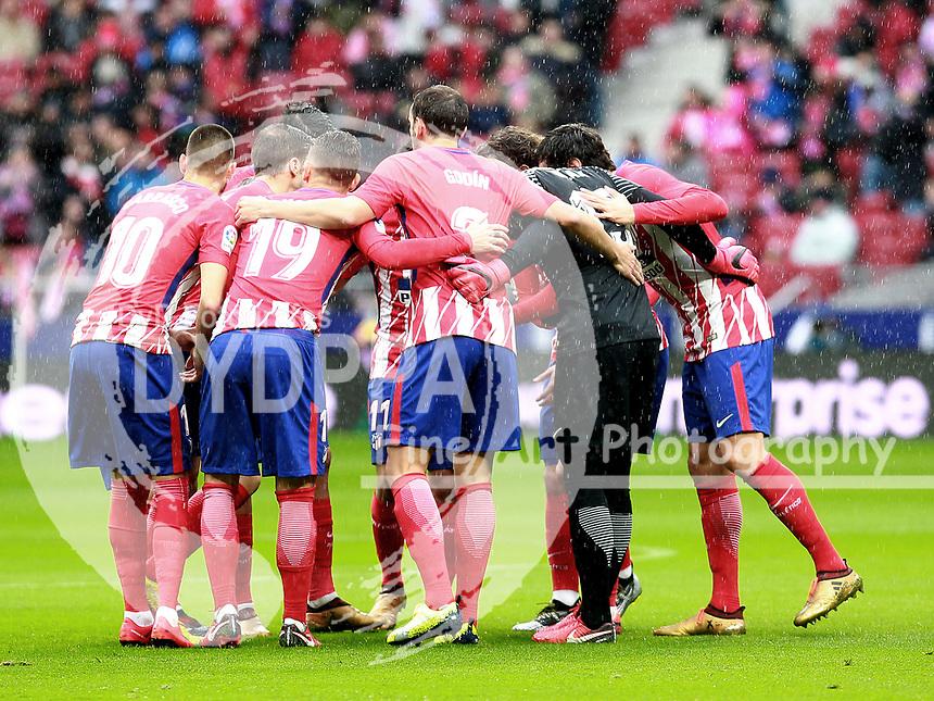 Atletico's team<br /> Atletico de Madrid vs Getafe Spanish League football match, La Liga Santander, at Wanda Metropolitano stadium in Madrid on January 6, 2017