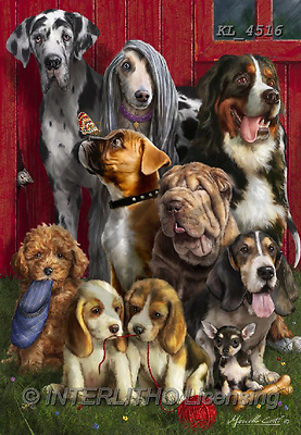 Interlitho-Marcello, REALISTIC ANIMALS, REALISTISCHE TIERE, ANIMALES REALISTICOS, paintings+++++,dogs,KL4516,#a#, EVERYDAY ,puzzles ,dogs ,puzzles