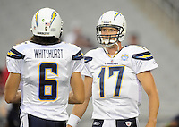 Aug. 22, 2009; Glendale, AZ, USA; San Diego Chargers quarterback Phillip Rivers (right) with Charlie Whitehurst against the Arizona Cardinals during a preseason game at University of Phoenix Stadium. Mandatory Credit: Mark J. Rebilas-