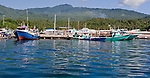 Fishing boats of many types and sizes throng the anchorage and dock area of Bitung City, in the Lembeh Strait, North Sulawesi, Indonesia.