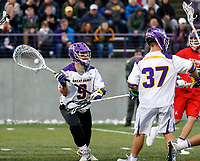 JD Colarusso (#9) distributes the ball after a save as UAlbany Men's Lacrosse defeats Richmond 18-9 on May 12 at Casey Stadium in the NCAA tournament first round.