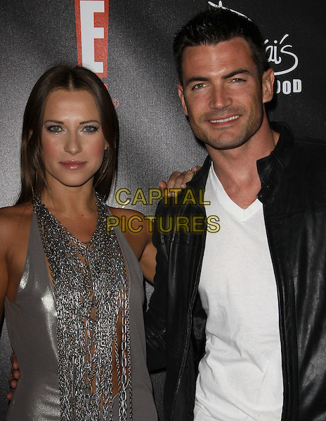EDYTA SLIWINSKA & GUEST.E! Oscar Viewing And After Party held At Drai's at The W Hotel, Hollywood, California, USA..March 7th, 2010.half length silver dress chains white top black leather jacket .CAP/ADM/KB.©Kevan Brooks/AdMedia/Capital Pictures.