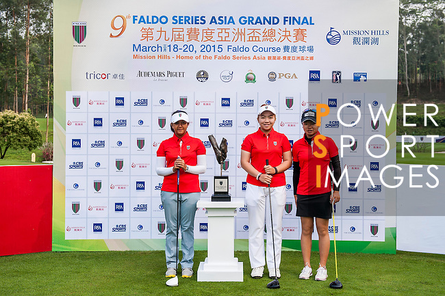Group 8 poses for a portrait during the 9th Faldo Series Asia Grand Final 2014 golf tournament on March 18, 2015 at Faldo course in Mid Valley clubhouse in Shenzhen, China. Photo by Xaume Olleros / Power Sport Images