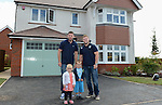 Cardiff Blues, Wales and British and Irish Lions player Alex Cuthbert and Cardiff Blues Rhys Williams with Ashley and Rhys McConnell<br /> <br /> Redrow Homes Official opening of  at Belle View at Mon Bank Newport with Cardiff Blues Players Alex Cuthbert and Rhys Williams - Newport <br /> <br /> &copy; www.sportingwales.com- PLEASE CREDIT IAN COOK