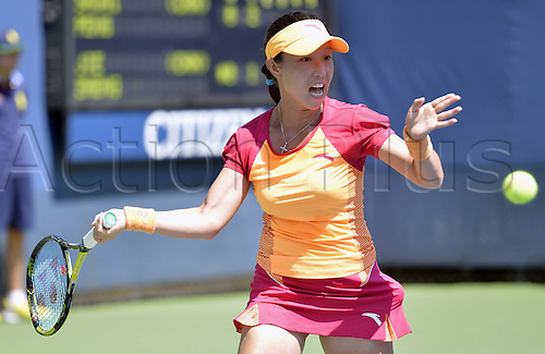 25.08.2014. Flushing Meadows, NY, USA. Zheng Jie of China competes during for women s singles 1st round match against her compatriot Peng Shuai at the U.S. Open tennis tournament in New York, the United States, on Aug. 25, 2014. Zheng lost 0-2.