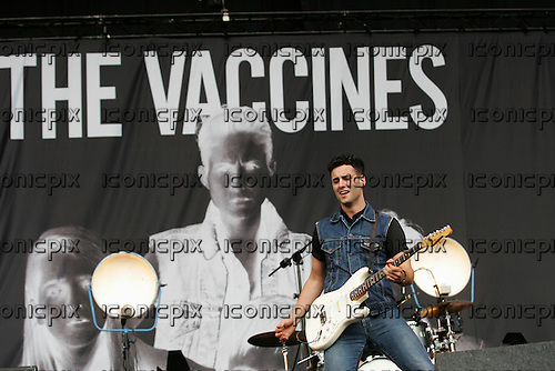 The Vaccines - guitarist Freddie Cowan - performing live on the main stage on Day 2 at the 2005 Reading Festival in Reading UK - 25 Aug 2012.  Photo credit: Dean Fardell/IconicPix