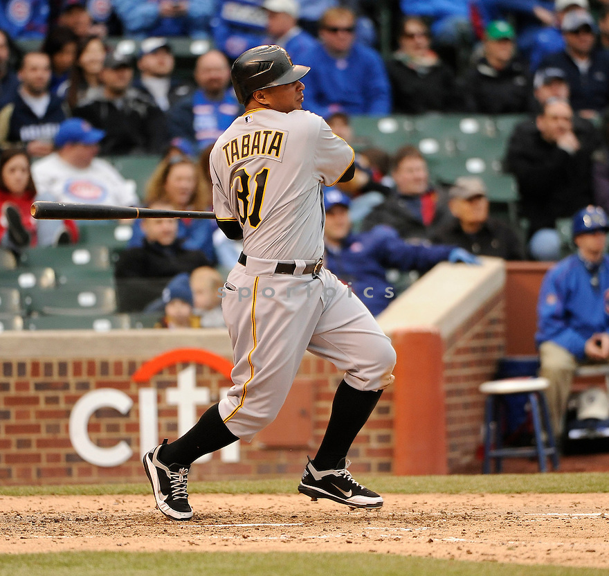 JOSE TABATA, of the Pittsburgh Pirates, in actions during the Pirates game against the Chicago Cubs at Wrigley FIeld on April 3, 2011.  The Pirates won the game beating the Cubs 5-4.