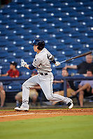 Mobile BayBears second baseman Hutton Moyer (11) follows through on a swing during a game against the Mississippi Braves on May 7, 2018 at Trustmark Park in Pearl, Mississippi.  Mobile defeated Mississippi 5-0.  (Mike Janes/Four Seam Images)