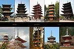 Japanese Pagodas Sankeien Tomyoji Sanjunoto, Horyuji Gojunoto, Shitennoji Gojunoto, Nikko Gojunoto, Kofukuji Gojunoto, Kiyomizudera Sanjunoto, Katsuoji Tahoto Composite Image