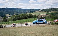 Maxime Monfort (BEL/Lotto-Soudal) is Caleb Ewans (AUS/Lotto-Soudal) personal chaperone for this (very) tough stage<br /> <br /> Stage 8: Mâcon to Saint-Étienne(200km)<br /> 106th Tour de France 2019 (2.UWT)<br /> <br /> ©kramon