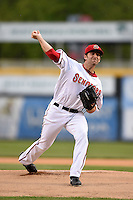 Harrisburg Senators pitcher Robert Gilliam (32) delivers a warmup pitch during a game against the New Britain Rock Cats on April 28, 2014 at Metro Bank Park in Harrisburg, Pennsylvania.  Harrisburg defeated New Britain 9-0.  (Mike Janes/Four Seam Images)