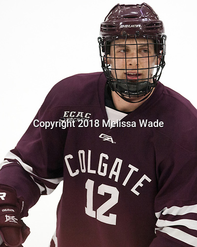 Adam Dauda (Colgate - 12) - The visiting Colgate University Raiders shut out the Harvard University Crimson for a 2-0 win on Saturday, January 27, 2018, at Bright-Landry Hockey Center in Boston, Massachusetts.