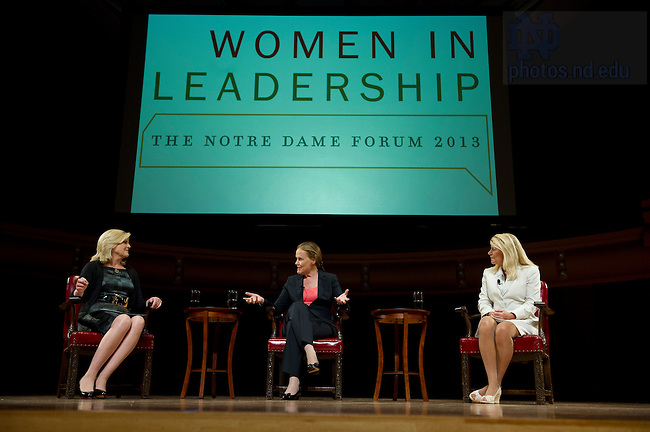 "Sept.16, 2013; Moderator Anne Thompson, of NBC News, Honorable Michele Flournoy and General Ann Dunwoody (right) speak on the topic ""Getting to the Top at the Pentagon,"" part of the 2013-14 Notre Dame Forum: ""Women in Leadership"" in Leighton Concert Hall at DeBartolo Performing Arts Center. Photo by Barbara Johnston/University of Notre Dameotre Dame"