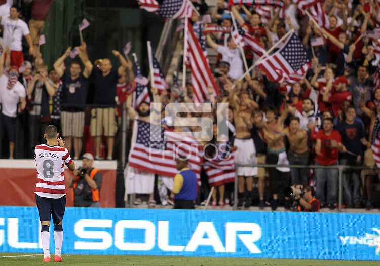 COLUMBUS, OHIO - SEPTEMBER 11, 2012:  Clint Dempsey (8) of the USA MNT greet the fans at the end of the Jamaica game during a CONCACAF 2014 World Cup qualifying  match at Crew Stadium, in Columbus, Ohio on September 11. USA won 1-0.