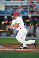 Auburn Doubledays designated hitter Sheldon Neuse (38) at bat during a game against the Vermont Lake Monsters on July 12, 2016 at Falcon Park in Auburn, New York.  Auburn defeated Vermont 3-1.  (Mike Janes/Four Seam Images)