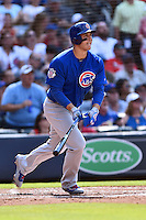 Chicago Cubs first baseman Anthony Rizzo (44) hits a home run during a game against the Atlanta Braves at Turner Field on June 11, 2016 in Atlanta, Georgia. The Cubs defeated the Braves 8-2. (Tony Farlow/Four Seam Images)