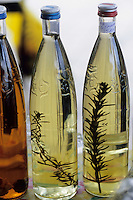 Europe/Croatie/Dalmatie/ Ile de Vis/Vis: Bouteilles d'huile d'olive sur le marché
