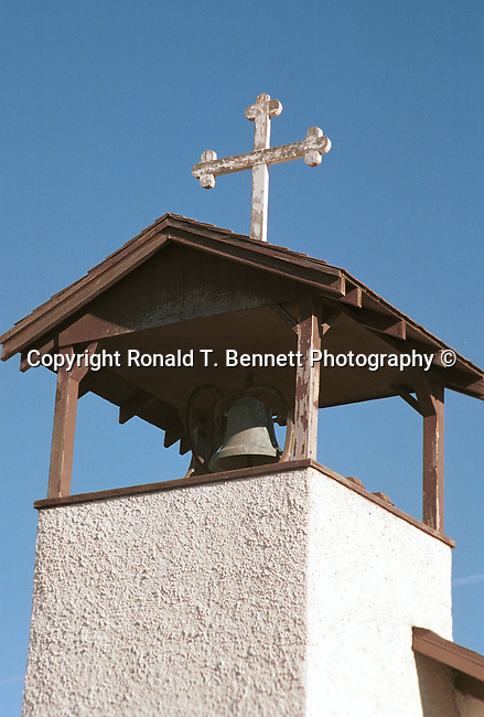 Church bell tower with cross Gila River, Arizona, State of Arizona, Southwest, desert, 48th State, Last of contiguous states, Phoenix, Scottsdale, Grand Canyon, Indian reservations, four corners, desert landscape, exrophyte, western United States, Southwest, Mountains, plateaus, ponderosa pines, Colorado River,  Mountain lion, Navajo Nation, No daylight savings time, Arizona Territory, Arizona, AR, Ariz, Fine Art Photography by Ron Bennett, Fine Art, Fine Art photography, Art Photography, Copyright RonBennettPhotography.com ©